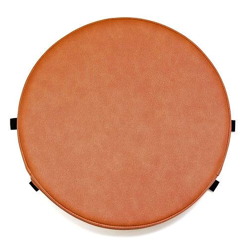 円形PVCレザー座布団<紐固定タブ付き> (直径35センチ・生地柄C-キャメル系ブラウン)