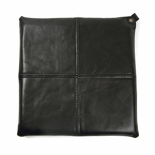 本革レザー座布団クッションS1  (30×30センチ,ブラック)