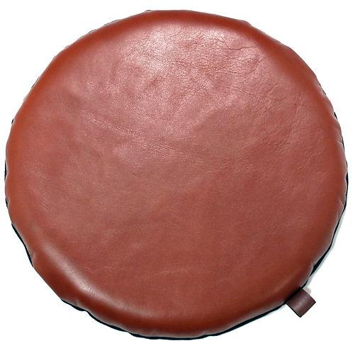 本革座布団・円形レザークッション(直径30センチ・ブラウン)
