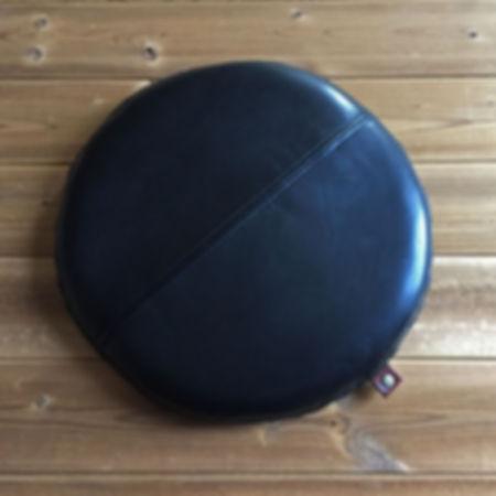本革座布団クッション円形(黒・ブラック)
