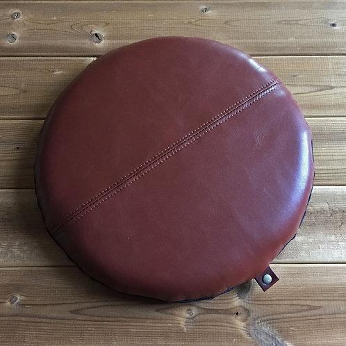 【受注生産】本革円形座布団C1(直径30センチ・ブラウン)