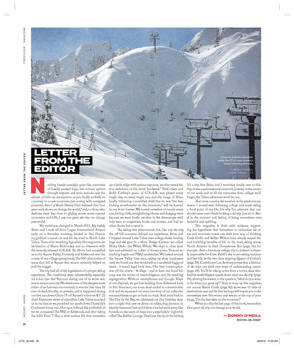 Letter from the Editor - Resort Guide