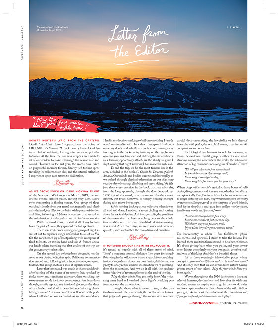 Letter from the Editor - Backcountry Issue