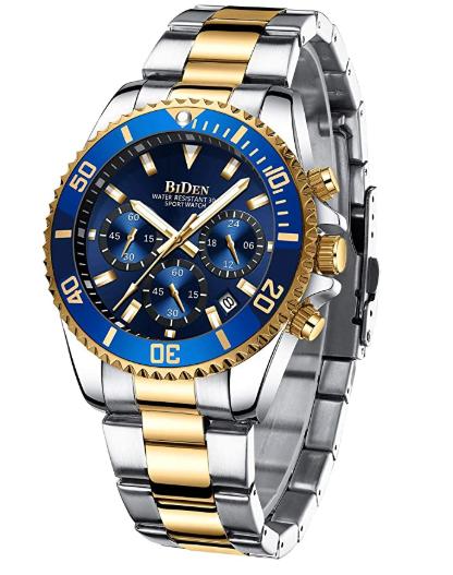 Relógio de pulso Cronógrafo Designer Silver&Gold