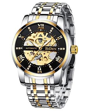 Relógio de pulso de aço inoxidável Gold and Black