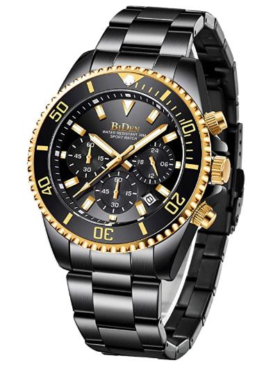Relógio Cronógrafo Designer Gold Edition