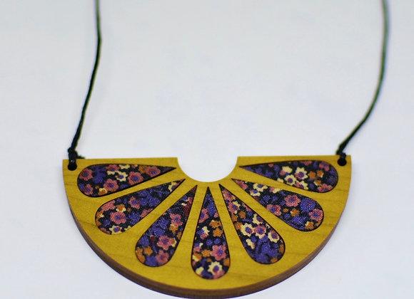 Purple Floral + Wood Necklace
