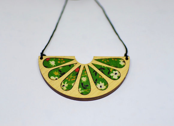 Green Floral + Wood Necklace