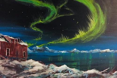 Nordlys på hytta