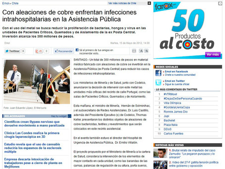 EMOL | Con aleaciones de cobre enfrentan infecciones intrahospitalarias en la Asistencia Pública