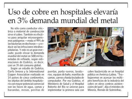 El Mercurio | Uso de cobre en hospitales elevaría en 3% demanda mundial del metal