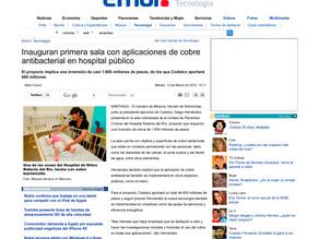 El Mercurio | Inauguran primera sala con aplicaciones de cobre antibacterial en hospital público