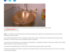 CNN | El cobre, una forma de matar las bacterias en un hospital de Chile