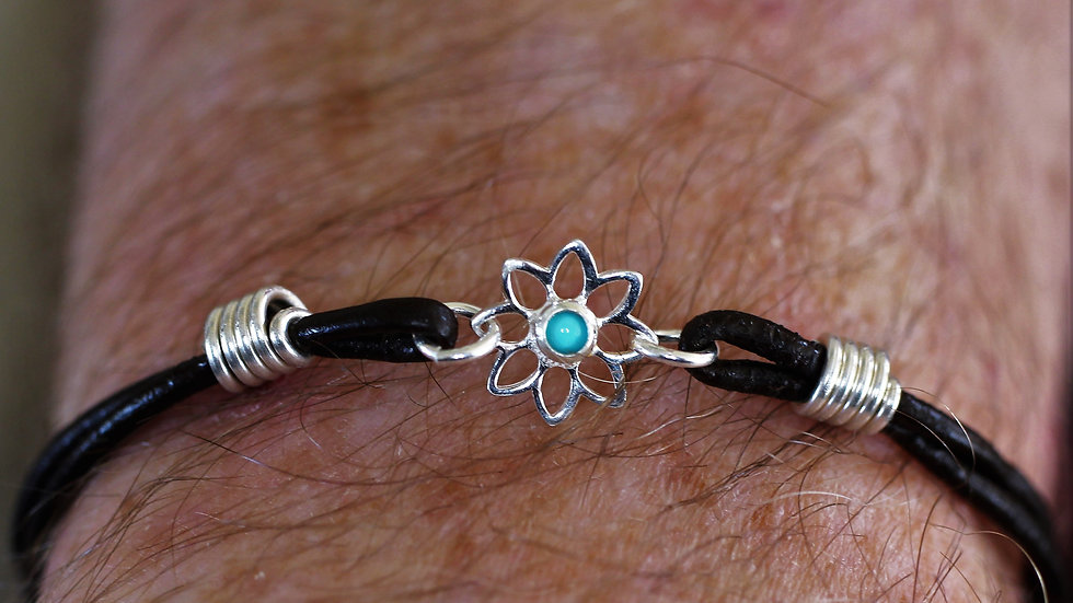 Turquoise Flower Leather Bracelet