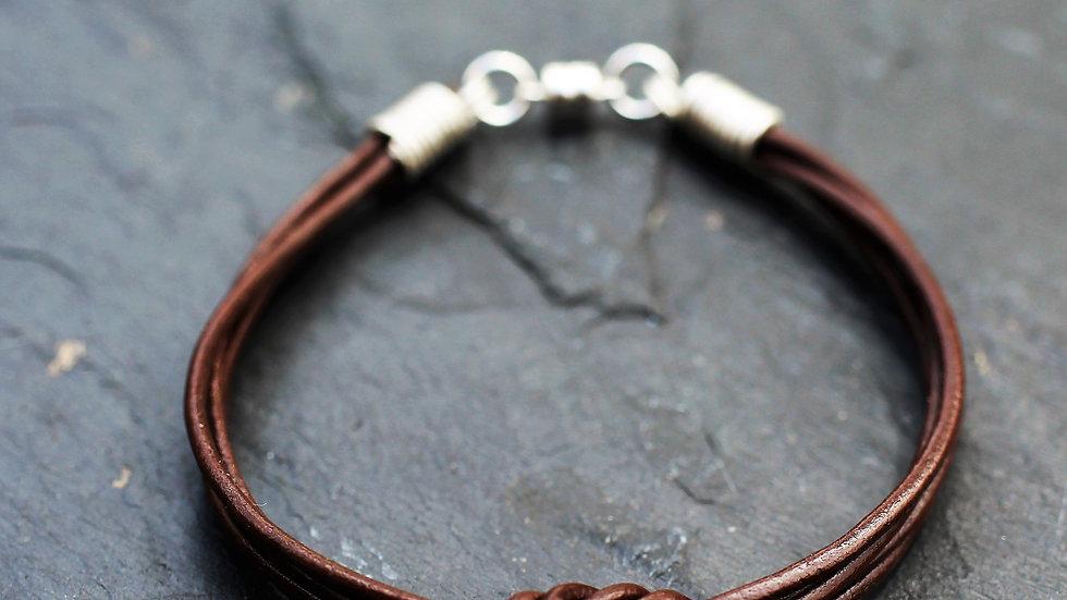 Leather Double Love Knot Bracelet