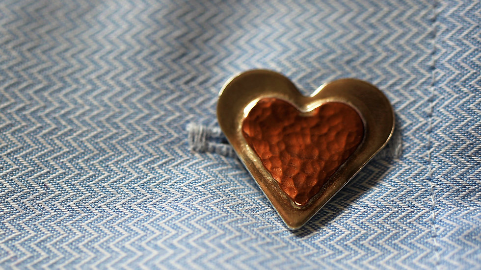 Sterling Silver and Copper Heart Cufflinks