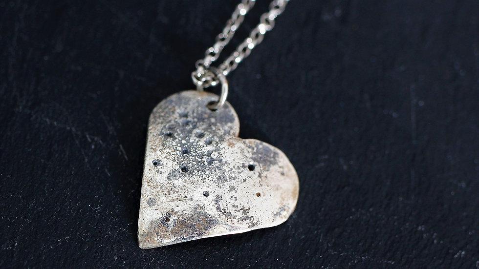 Sterling Silver Oxidised Beaten Heart