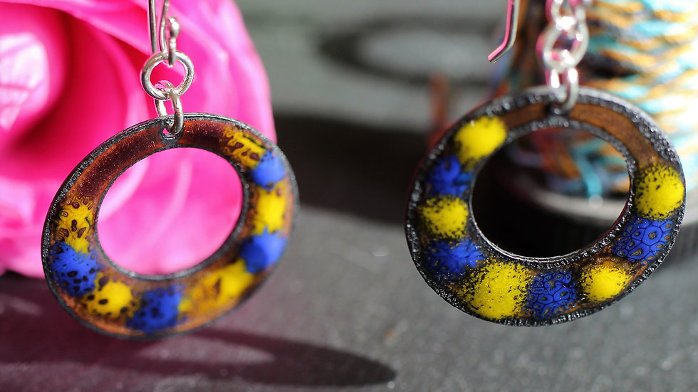 Blue and Yellow Enamelled Earrings
