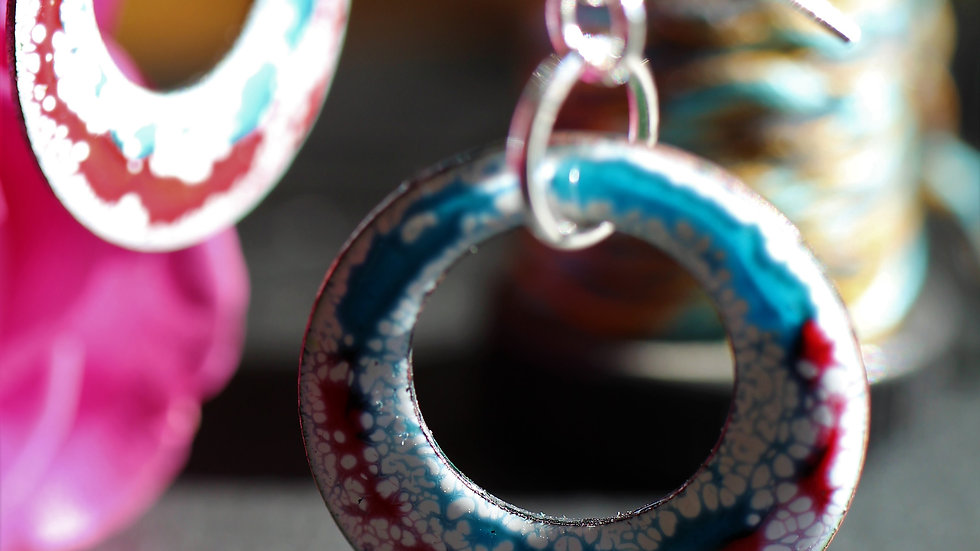 White, Blue and Red Enamelled Earring