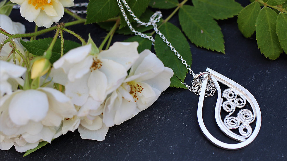 Sterling Silver Filigree Teardrop Necklace