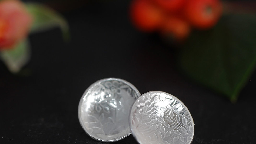 Sterling Silver Flower Relief Earrings