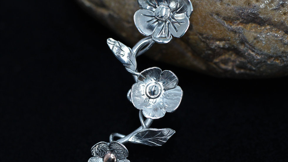 Sterling Silver Flower Spray Necklace