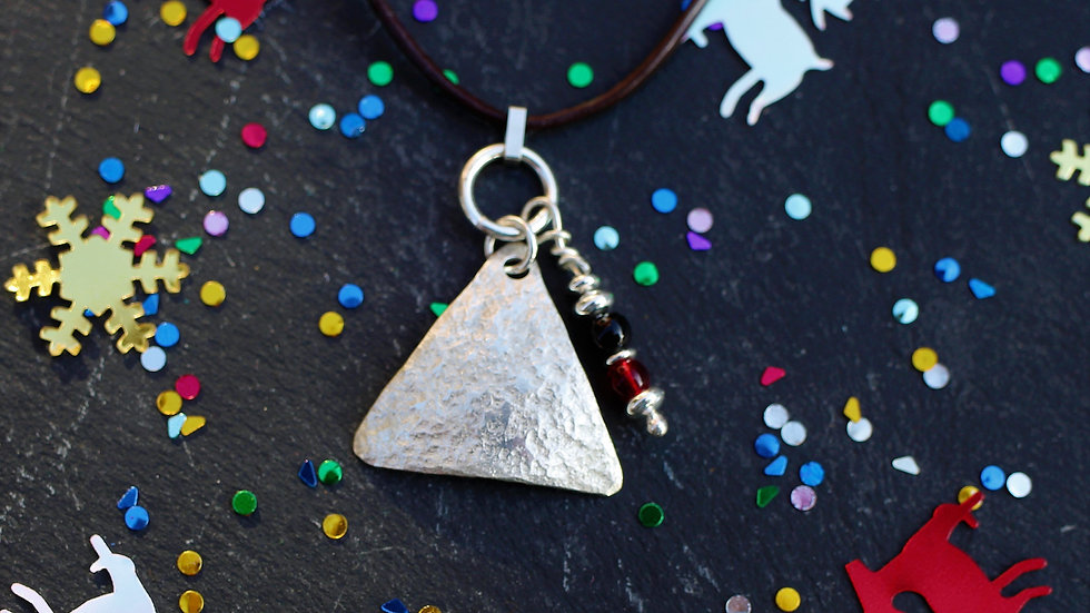 Sterling Sliver Beaten Triangle and Beaded Necklace