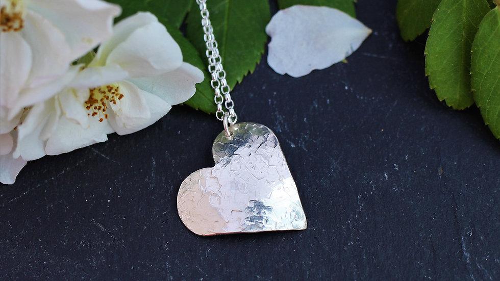 Sterling Silver Beaten Heart