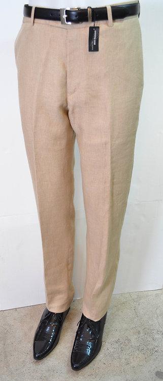 Caramel Linen Flat Front Trousers