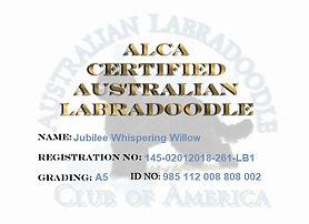 Jubilee Whispering WIllow ALCA Certifica