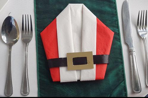 Santa Napkins, Christmas folded napkins, Christmas table decor