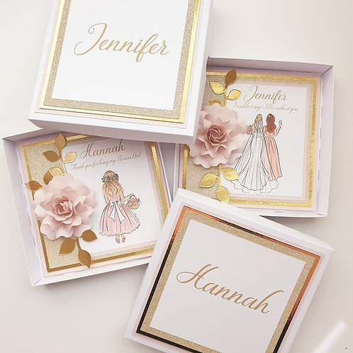 Bespoke paper flower boxed personalised cards. Will you be my bridesmaid?