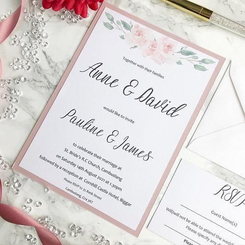 Wedding invitation set including RSVP. Blush pink floral and foilage.