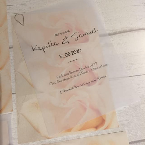 Vellum, Wedding, Translucent Vellum, Wedding invitation or Save The Date  A5