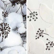雪の部分を貼り絵にしてみたり