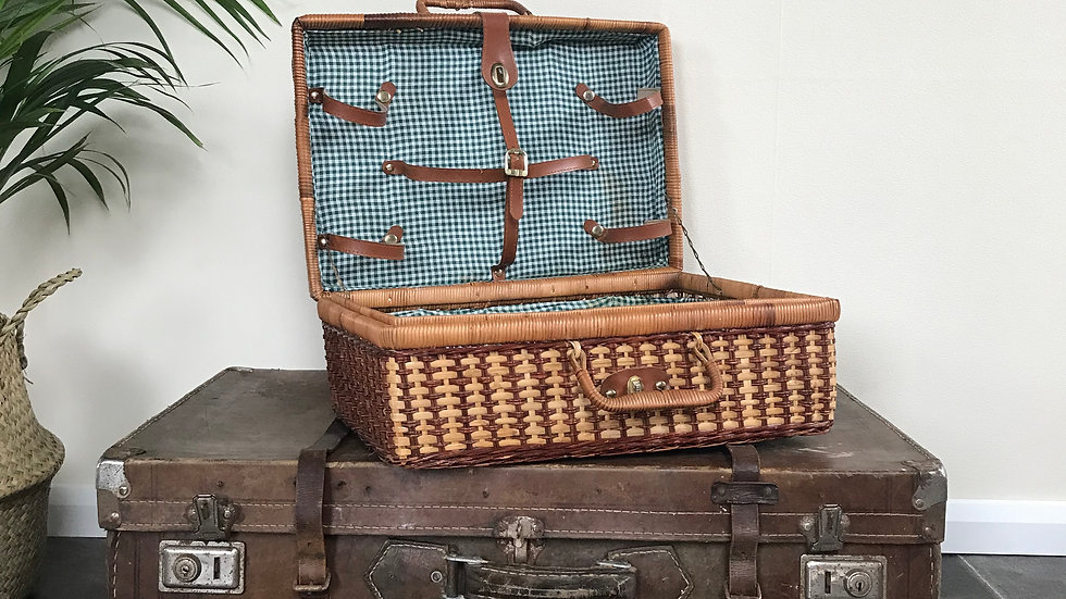 Vintage Wicker Picnic Basket Hamper with Green and White Checked Cotton Interior