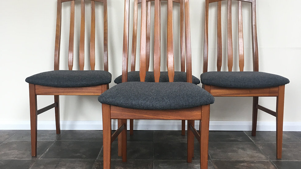 Set of 4 Vintage William Lawrence Mid Century Teak Dining Chairs in Grey Wool
