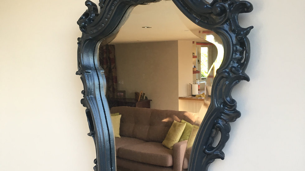 Elegant Painted Upcycled Antique Baroque / Roccoco Ornate Wall Mirror
