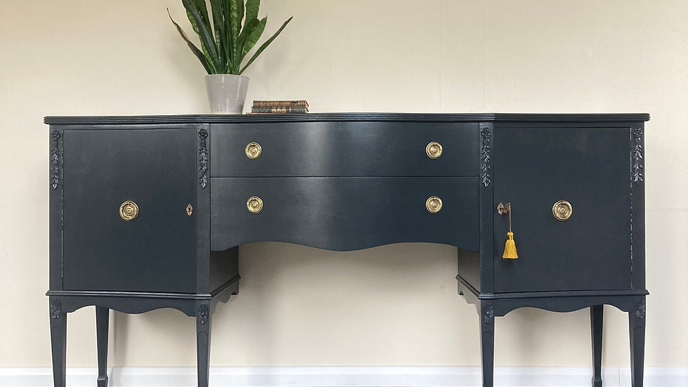 Large Georgian Style Mahogany Painted Sideboard in Farrow and Ball Off Black