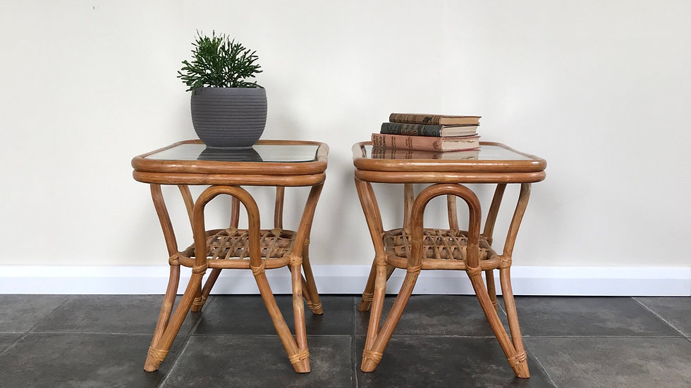 Vintage Bohemian Bamboo Side Tables / Rattan Side Tables / Cane Side Tables