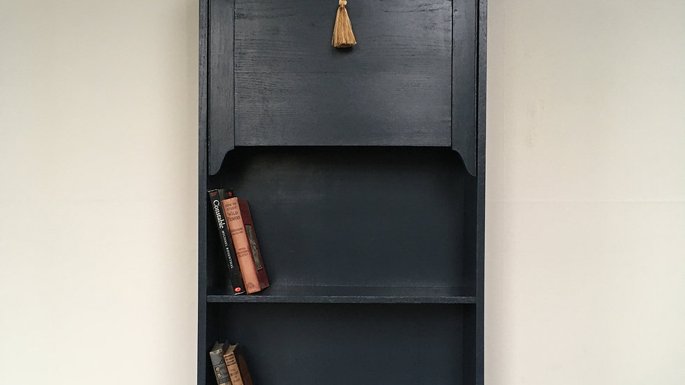 Oak Antique Painted Student's Bureau Bookcase / Desk in Farrow and Ball Railings