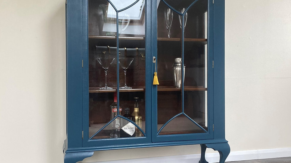 Elegant Painted Art Deco Double Fronted Gin Cabinet in Farrow & Ball Hague Blue
