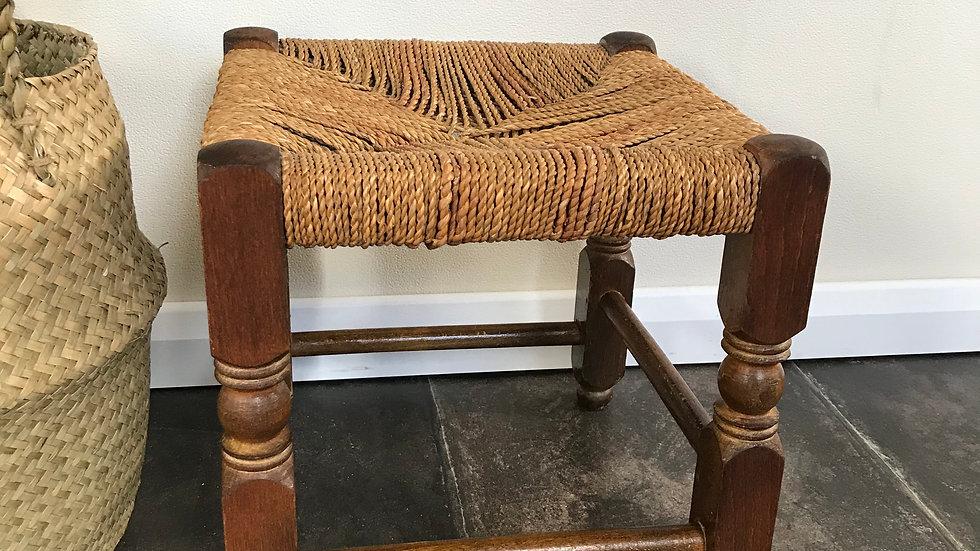 Antique Vintage Rustic Wooden Oak Stool / Foot Stool / Strung Wooden Stool