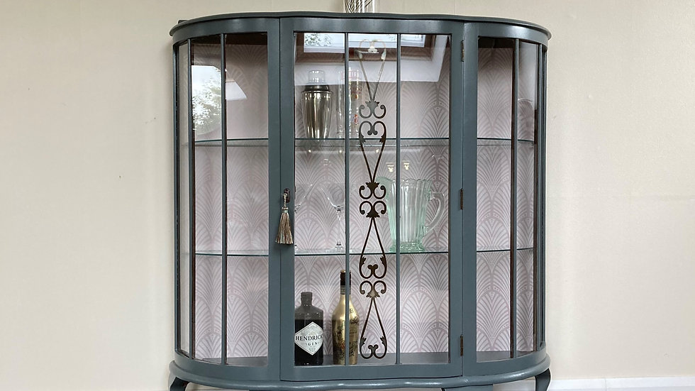Art Deco Painted Bow Fronted Gin Cabinet in Farrow and Ball Downpipe