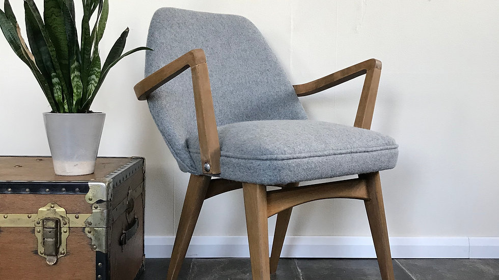 Vintage 1970's Ben Chair Carver Chair Reupholstered in Grey Wool