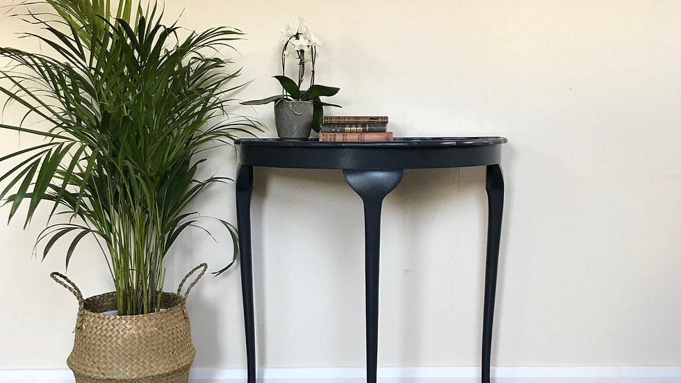 Vintage Regency Style Demi Lune Console Table in Farrow and Ball Railings