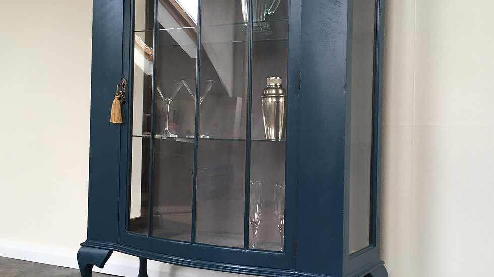 Elegant Painted Art Deco Bow Fronted Gin Cabinet in Farrow and Ball Hague Blue