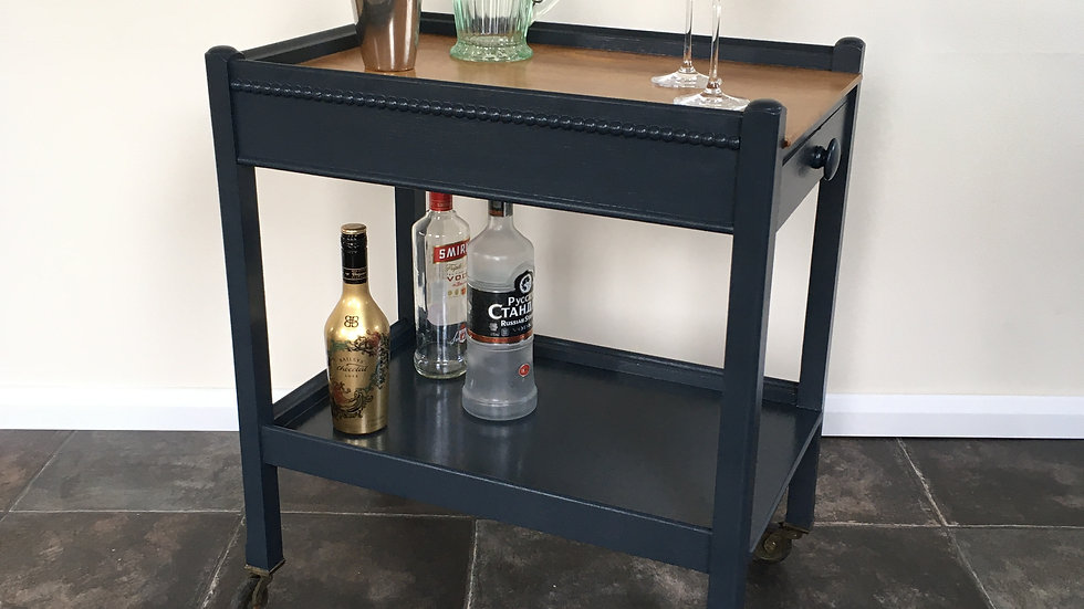 Lovely Painted Antique Drinks Trolley / Bar Cart / Hostess Trolley