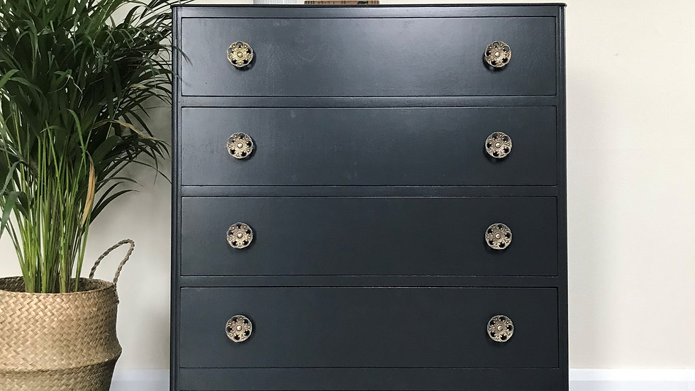 Mid Century Painted Chest of Drawers in Farrow and Ball Off Black