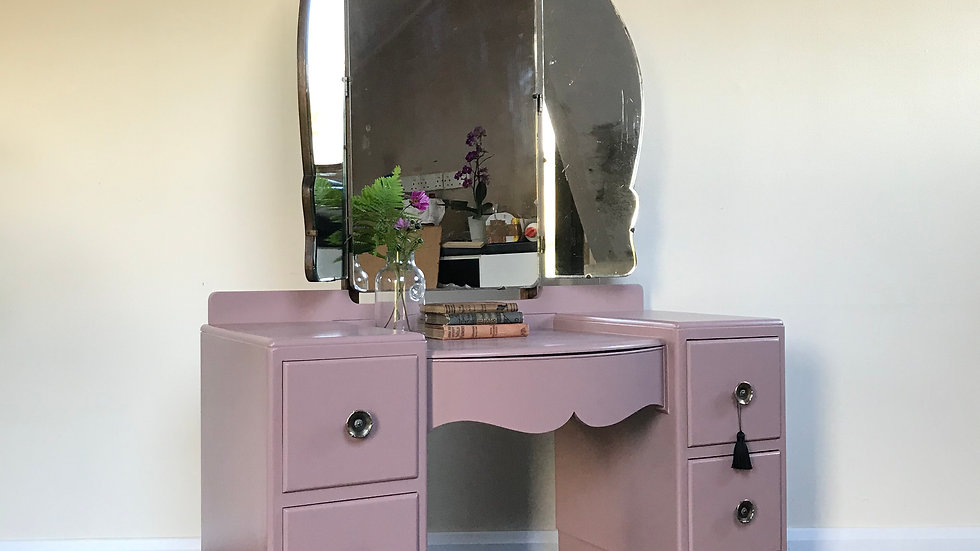 Art Deco Dressing Table / Chest of Drawers in Farrow and Ball Sulking Room Pink